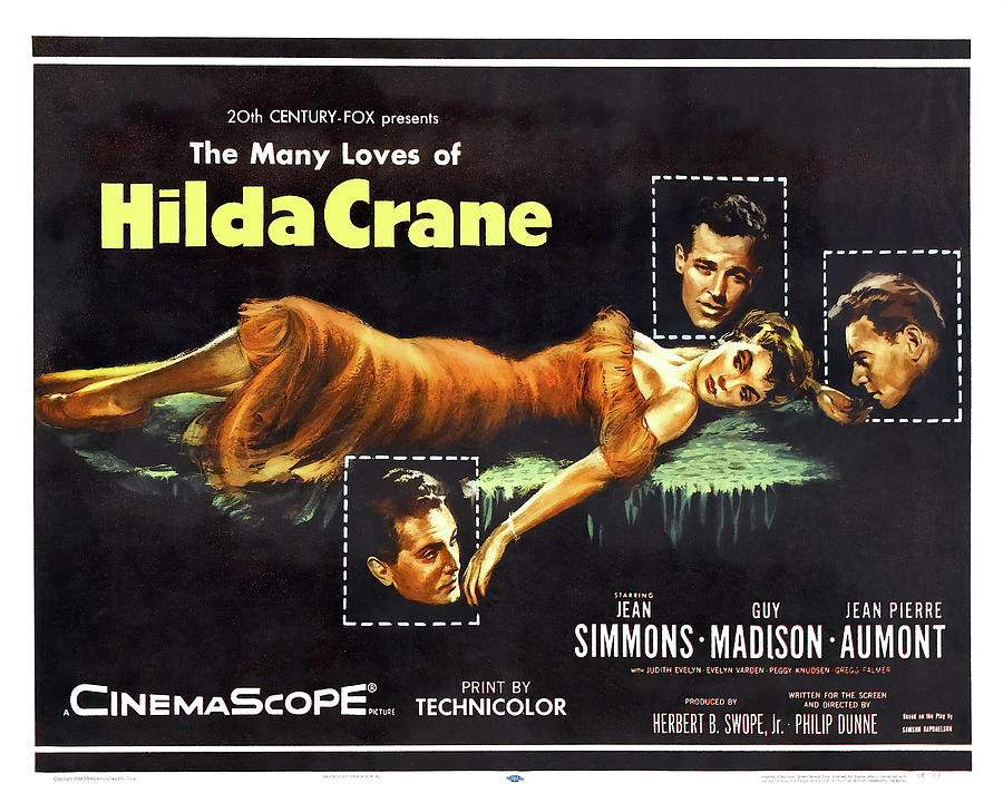 hilda Crane Movie Poster, With Jean Simmons, 1956 Mixed Media