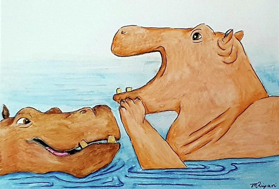 Humour Drawing - Hippo Humour by Michelle Ripari