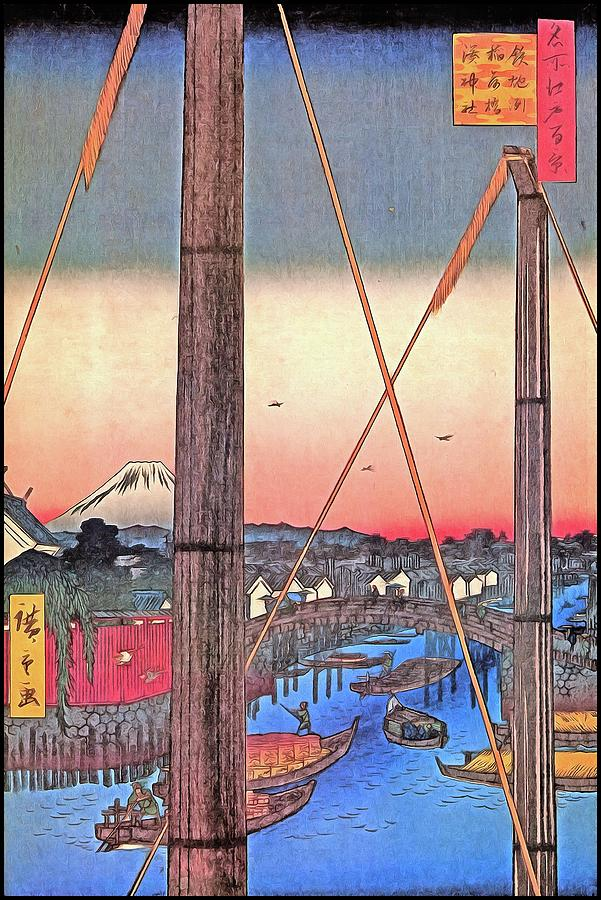 Hiroshige Inari Bridge And Minato Shrine Japanese Art Digital Art