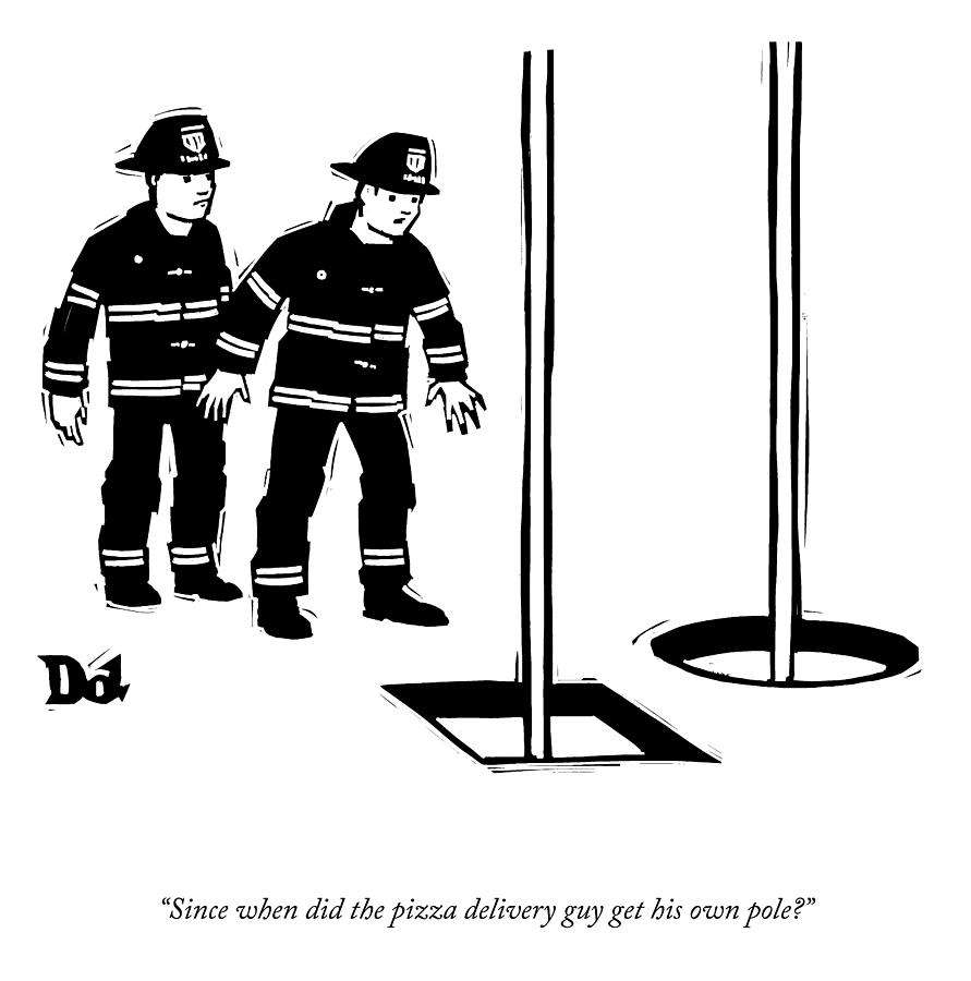His Own Pole Drawing by Drew Dernavich