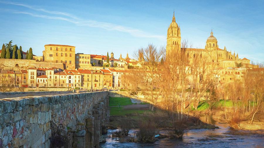 Historic Bridge And Cathedral Salamanca Spain Photograph