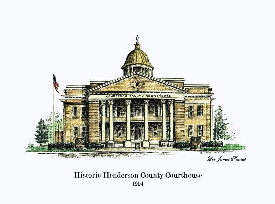 Courthouse Glass Art - Historic Henderson County Courthouse by Lee Pantas