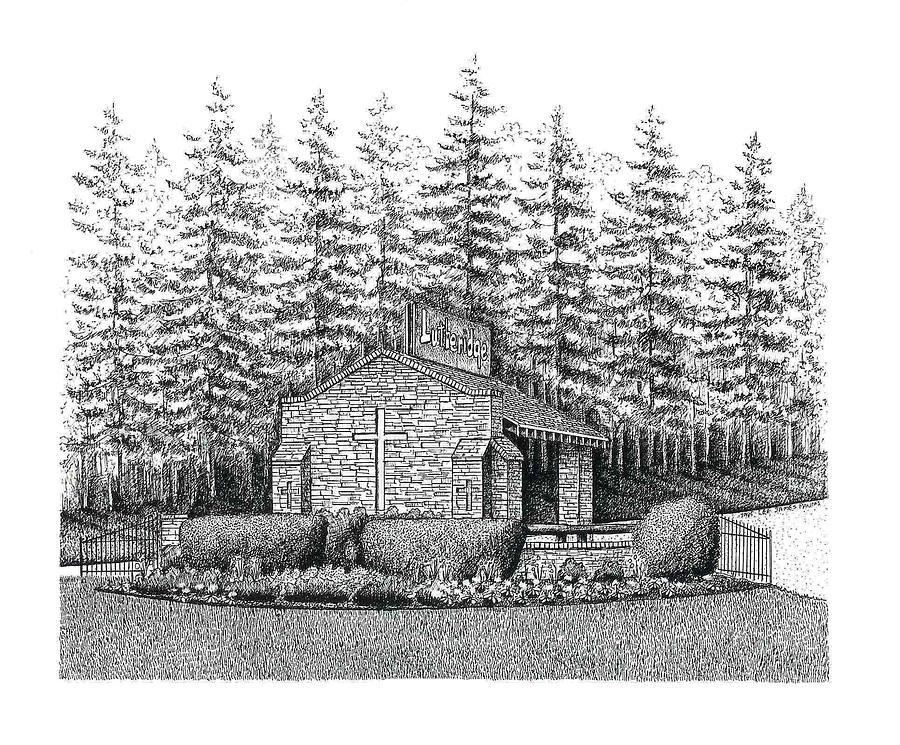 Historic Lutheridge Gate Drawing by Lee Pantas