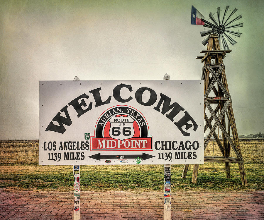 Historic Route 66 Midpoint Adrian Texas by Joan Carroll