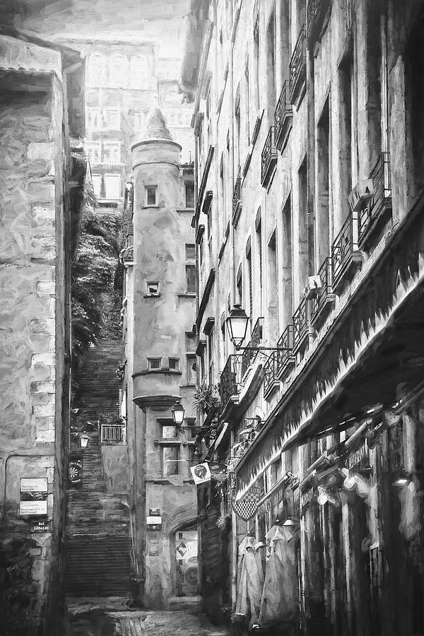 Historic Street Scenes Of Vieux Lyon Black And White Photograph