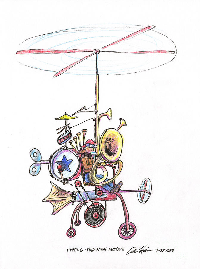 One Man Band Drawing - Hitting the High Notes by Eric Haines