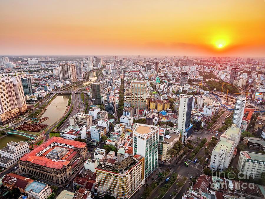 Ho Chi Minh City Skyline at Sunset by Bryan Mullennix