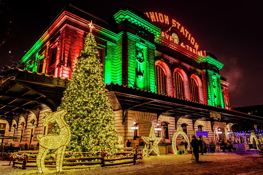 Holiday lighting of Denver Union Station by Teri Virbickis