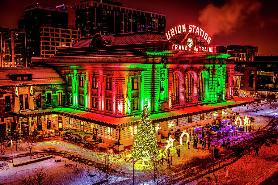 Holiday lighting of Union Station Denver from Above by Teri Virbickis