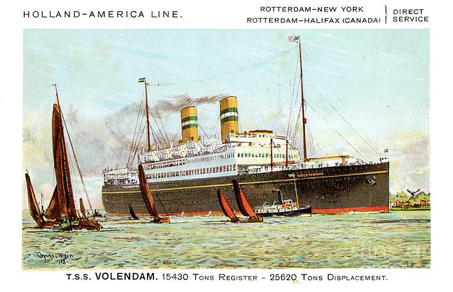 Holland America Line Tss Volendam Travel Postcard Painting