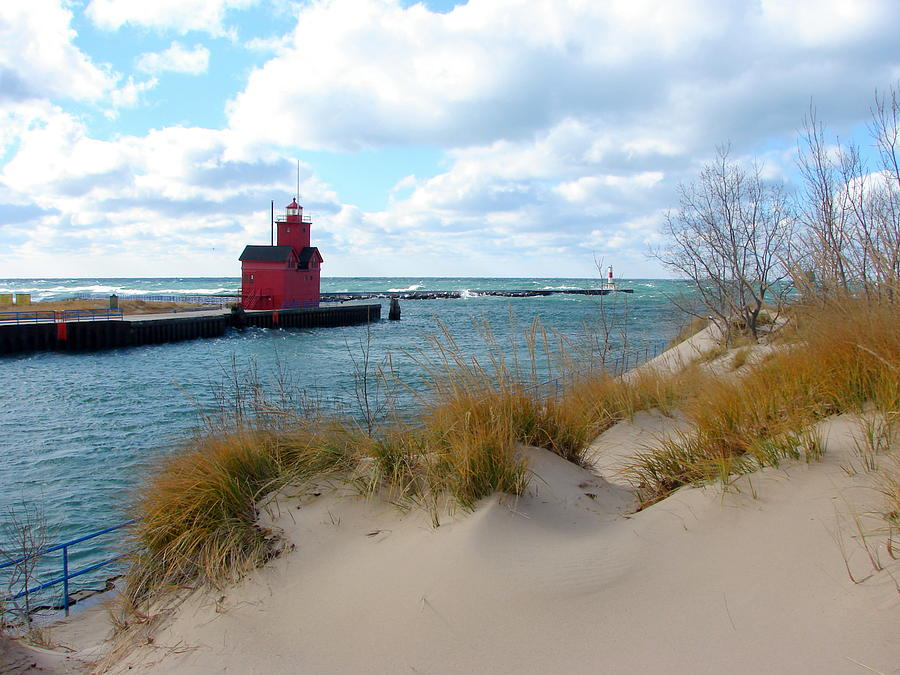 Lighthouse Photograph - Holland Harbor Lighthouse - Big Red - Michigan by Michelle Calkins