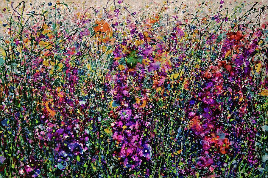 Hollyhock Fantasy Pollock Style Painting  by OLena Art - Lena Owens