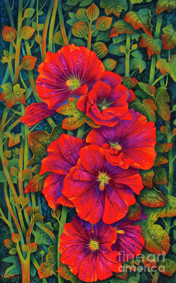 Hollyhocks - 3d Painting