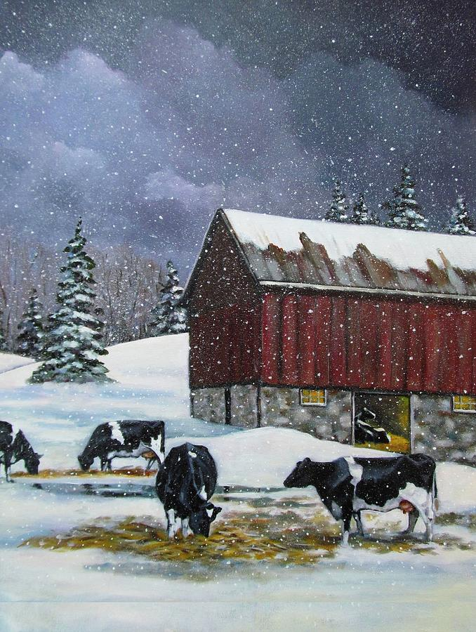 Holstein Cows In Snow Painting