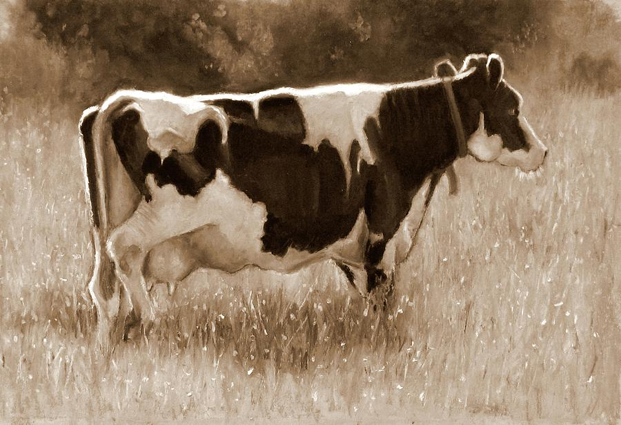 Holstein Dairy Cow Sepia Painting Painting