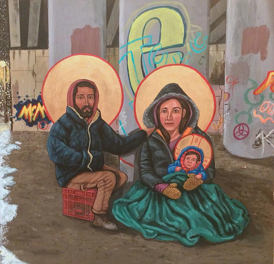 Holy Family of the Streets  Painting by Kelly Latimore