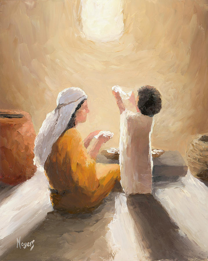 Jesus Painting - Holy Mother and Child by Mike Moyers