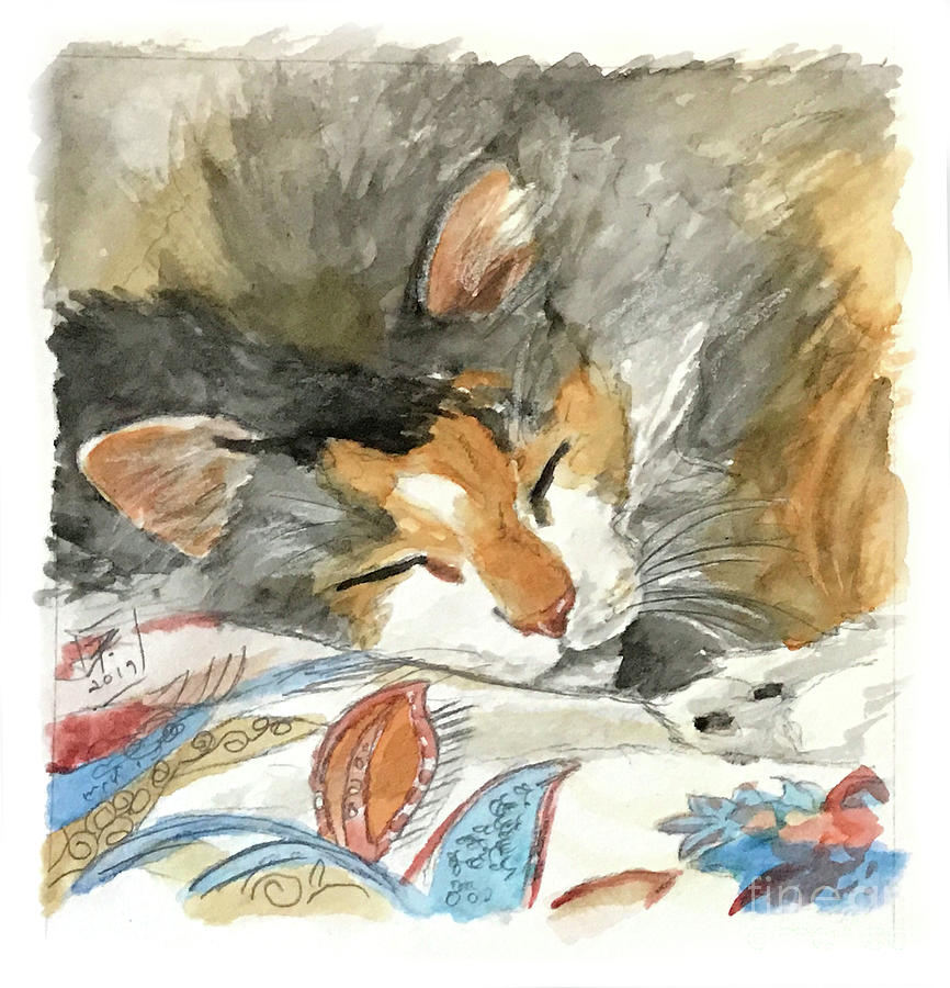 Cat Painting - Home At Last by Brandy Woods