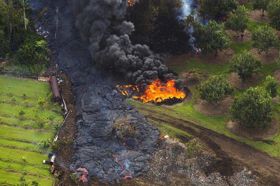 Homes In Pahoa, Hawaii Threatened By Lava Flow From Kilauea Volcano Photograph by Andrew Richard Hara