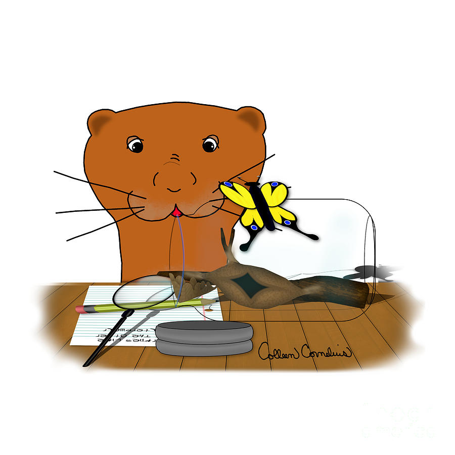 Sea Otter Digital Art - Homeschooling Oliver The Otter - The Butterfly by Colleen Cornelius