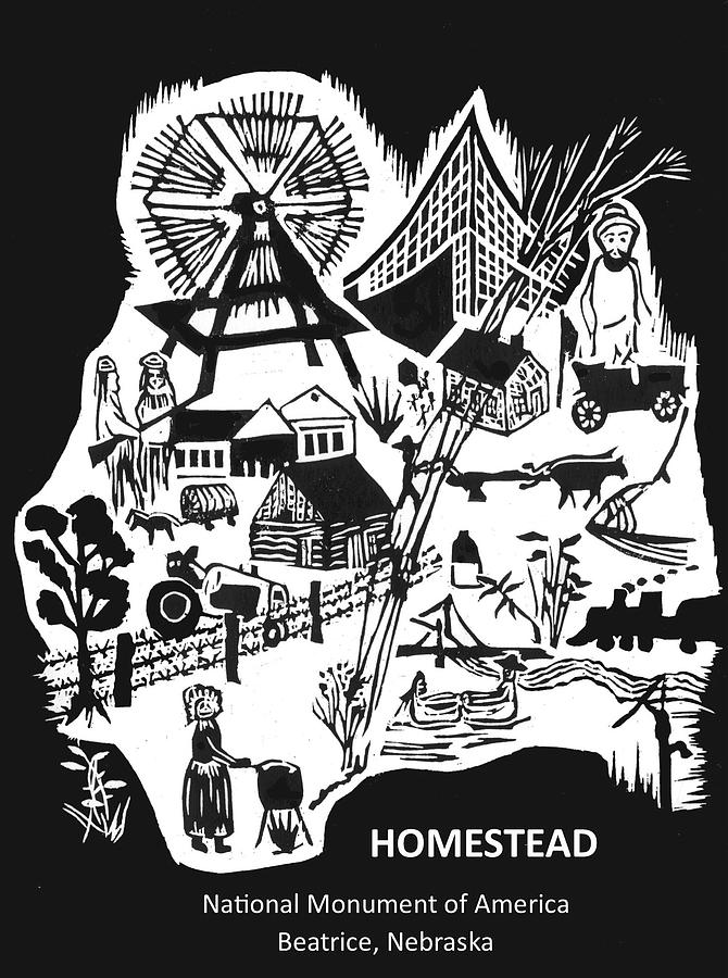 Homestead National Monument Relief - Homestead National Monument of America Poster by Ben Bohnsack