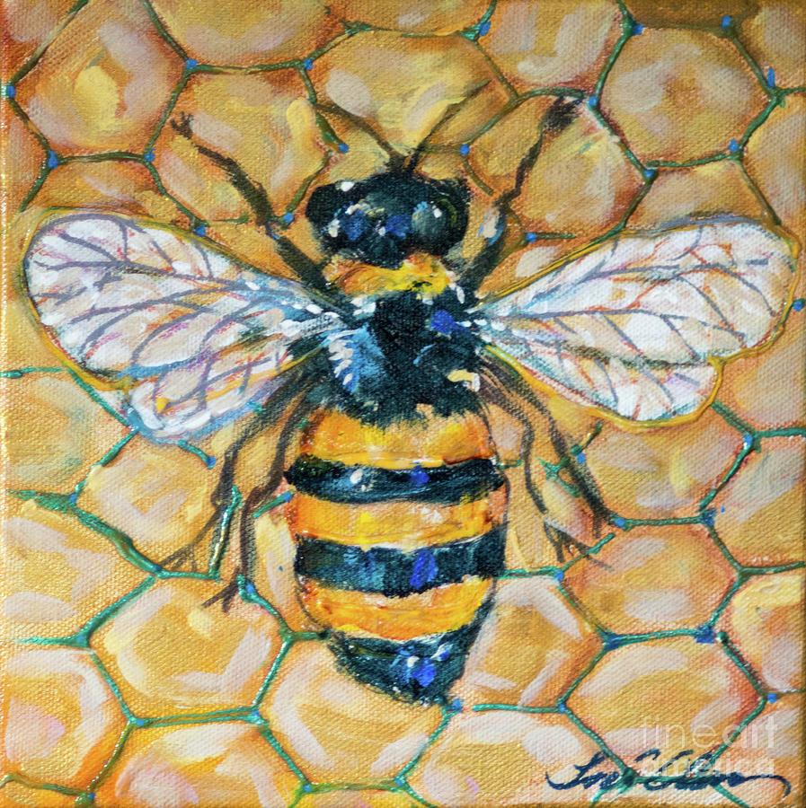 Honeybee and Comb 8 by Linda Olsen