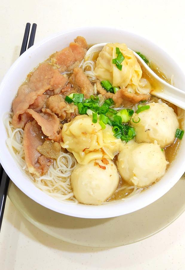 Hong Kong Famous Won Ton And Beef Noodles Photograph