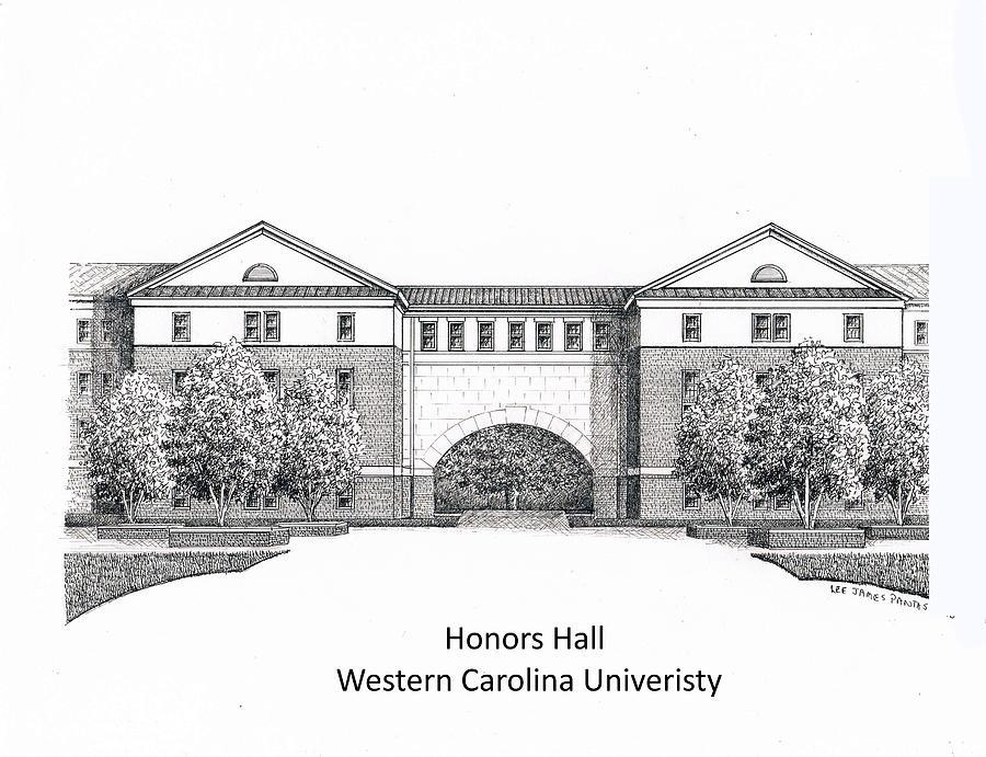 Western Carolina University Drawing - Honors Hall at Western Carolina University by Lee Pantas