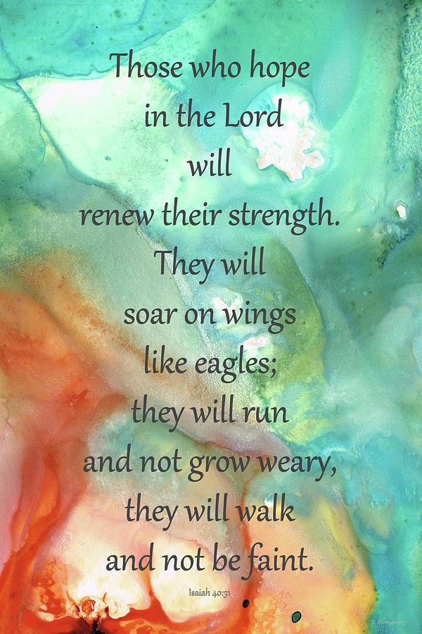 Isaiah 40:31 Painting - Hope In The Lord - Bible Verse Art - Sharon Cummings by Sharon Cummings