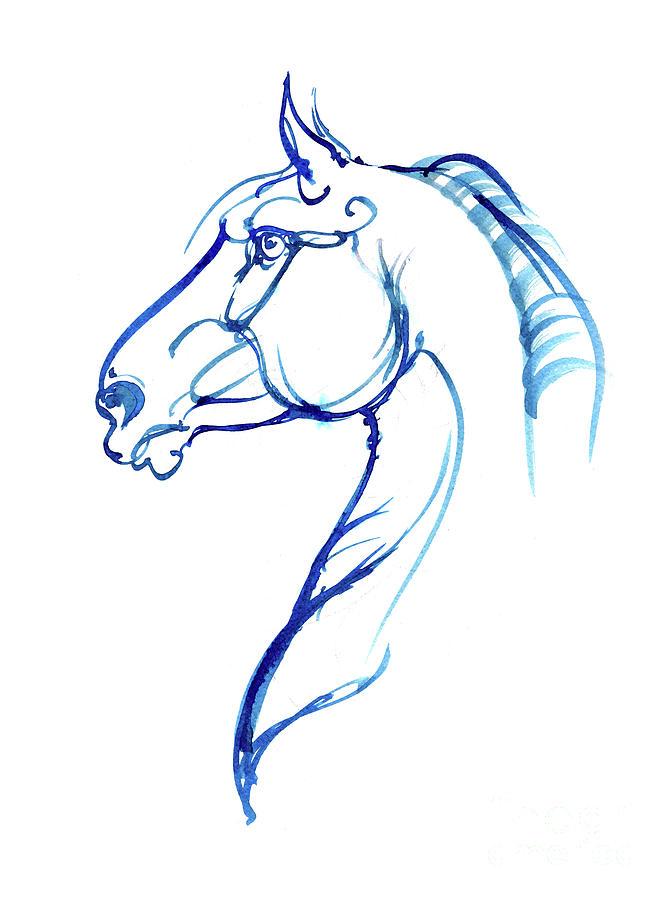 Horse head ink art 2019 12 02 by Angel Ciesniarska