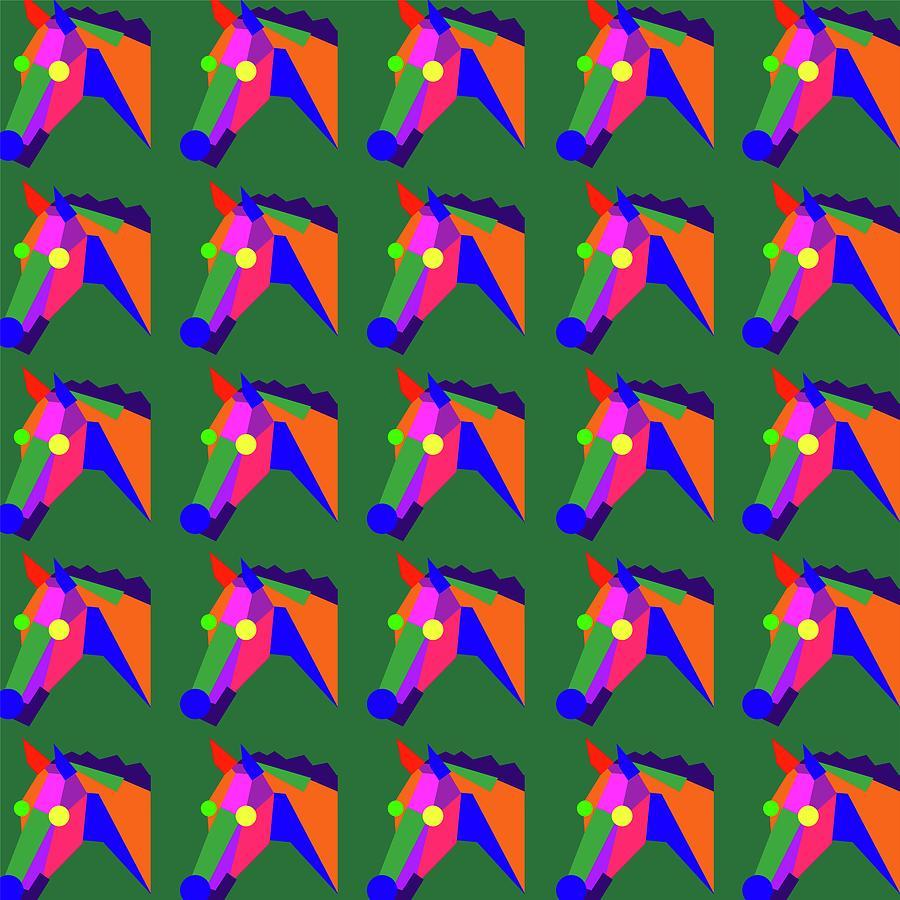 Horse Pattern Wpap Style Green Background Digital Art