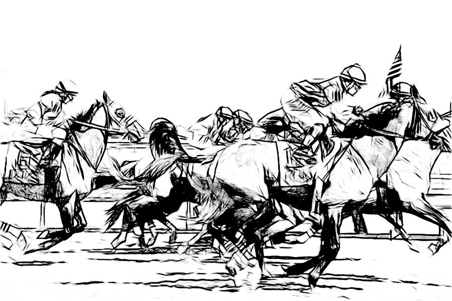 Horse Racing Sketched by Alice Gipson