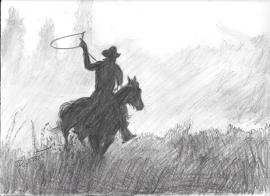 Horse Rider And Lasso Digital Art