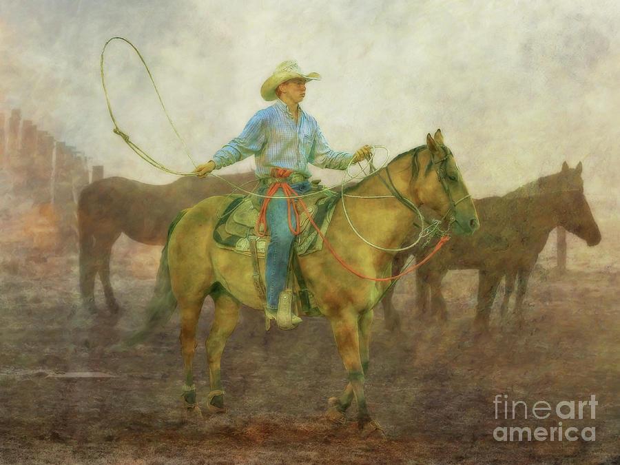 Horse Roping Cowboy Digital Art