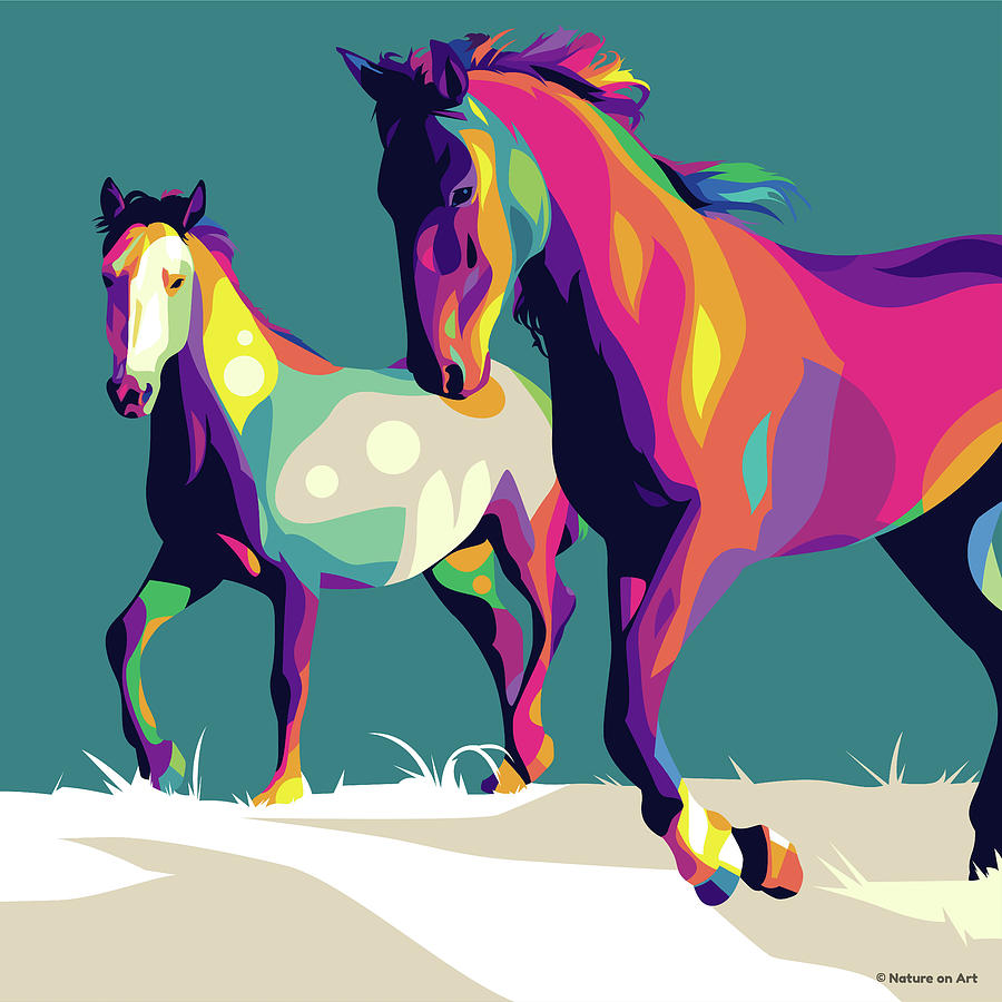 Horses Running Digital Art