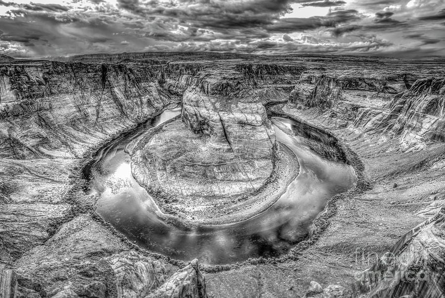 Horseshoe Bend Colorado River Black And White Photograph