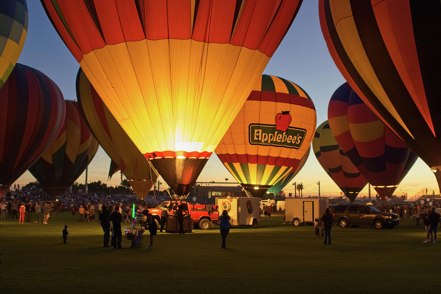 Arizona Photograph - Hot Air Balloon Glow-163 by Jack and Darnell Est