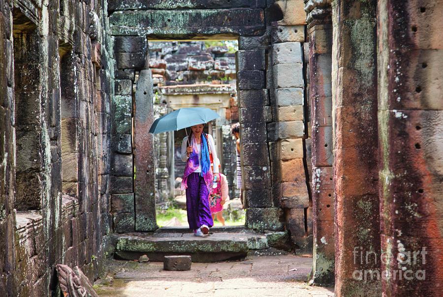 Cambodia Photograph - Hot Day Asian Woman Exploring Temples Cambodia Umbrella Color  by Chuck Kuhn