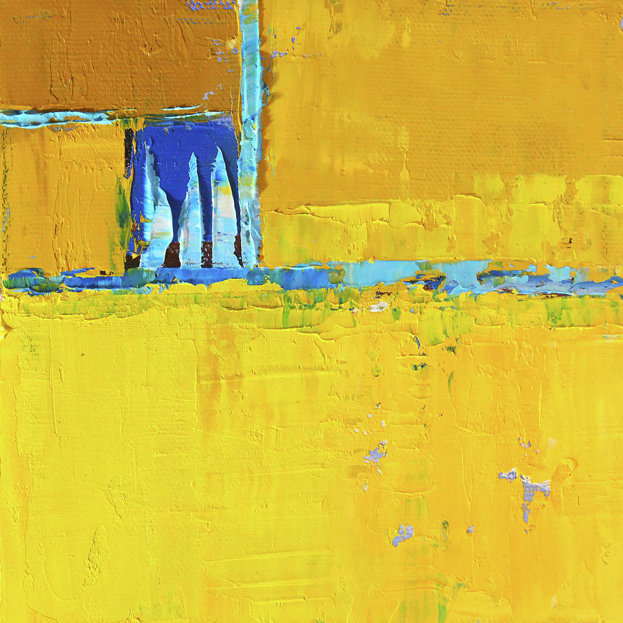 Yellow Abstract Painting - Hot Day by Nancy Merkle