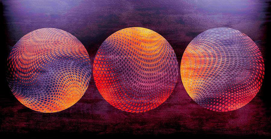 Orbs Digital Art - Hot Magenta Orbs by Grace Iradian