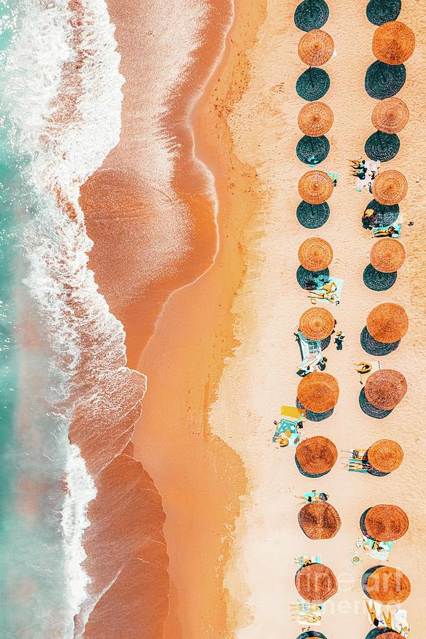 Hot Summer Beach Aerial, Orange Teal Aerial Beach, Ocean Sea Photograph