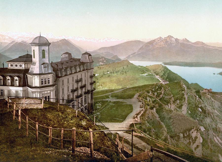 Hotel Rigi Kulm And The Schwyz Alps, Rigi Kulm, Schwyz, Switzerland 1890. Photograph