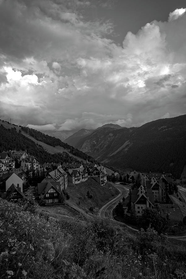 Black And White Photograph - Houses In The Pyrenees Mountains In Black And White by Vicen Photography