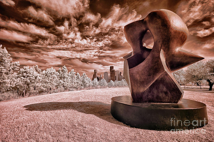 Houston And Large Spindle Piece In Infrared Photograph