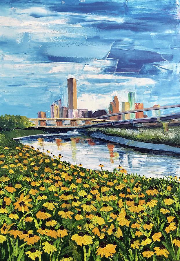 Houston Painting - Houston Helianthus on White Oak by Lauren Luna