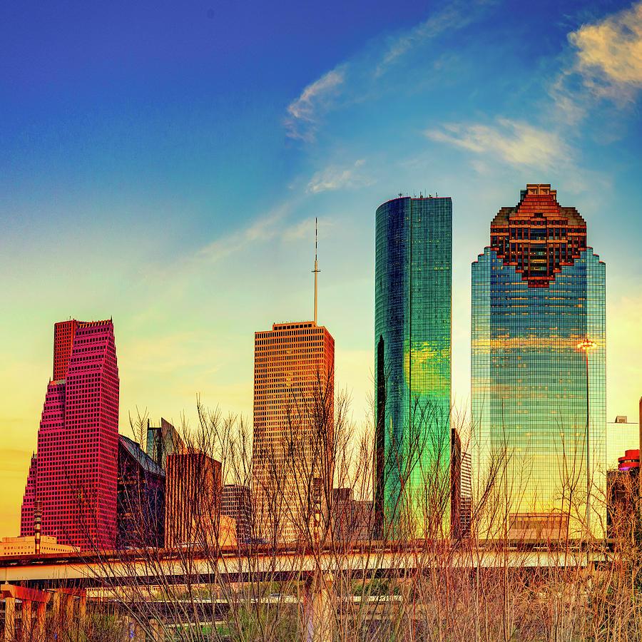 Houston Texas Skyline Colors At Sunset 1x1 Photograph
