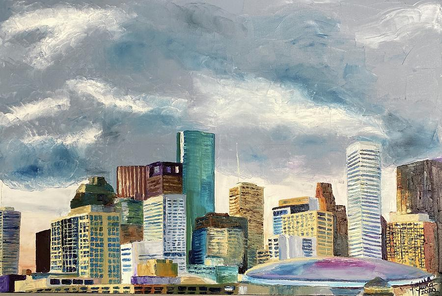 Houston Painting - Houston Twilight by Lauren Luna