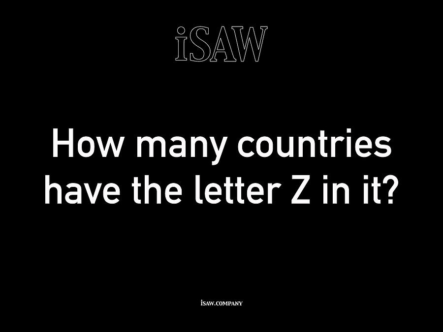 How Many Countries Have The Letter Z In It Black Digital Art