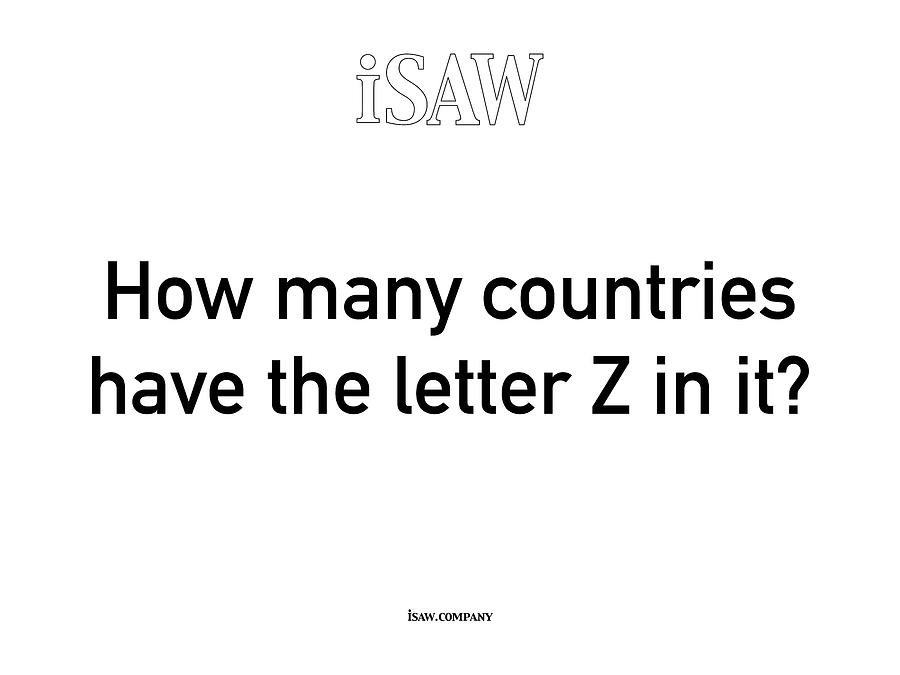 How Many Countries Have The Letter Z In It White Digital Art