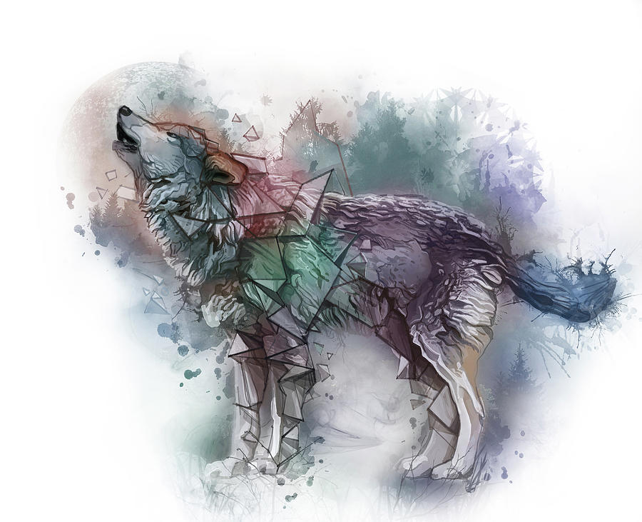 Howlin Wolf Watercolor Digital Art
